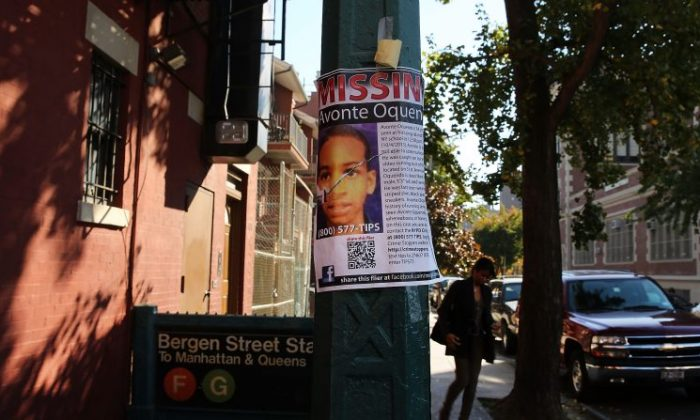 A missing autistic 14-year-old named Avonte Oquendo, on Oct. 21, 2013, in the Queens borough of New York City. (Spencer Platt/Getty Images