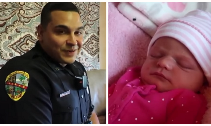 Rookie cop still in training goes above and beyond the call of duty for one young mother in distress