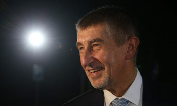 The leader of ANO party Andrej Babis arrives for a live broadcast of a debate before the country's parliamentary election in Prague, Czech Republic Oct. 19, 2017. (Reuters//Milan Kammermayer)