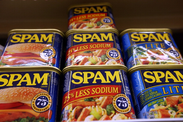 Cans of Spam on a shelf at Cal Mart grocery store on Jan. 3, 2013, in San Francisco.  (Justin Sullivan/Getty Images)