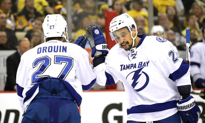 Jonathan Drouin #27 of the Tampa Bay Lightning celebrates with his teammate J.T. Brown #23 after scoring a goal.  (Photo by Bruce Bennett/Getty Images)