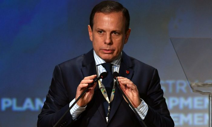 Sao Paulo's mayor Joao Doria prepares to speak at a forum in Sao Paulo, Brazil. (Nelson Almeida/AFP/Getty Images)