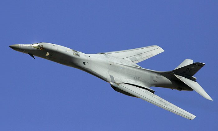 A B-1B Lancer flies by during a U. S. Air Force firepower demonstration at the Nevada Test and Training Range Sept. 14, 2007, near Indian Springs, Nev. (Ethan Miller/Getty Images)