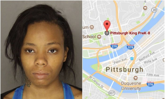 L: Daishonta Williams. (Allegheny County Jail); R: Location of the Pittsburgh King PreK-8. (Screenshot via Google Maps)