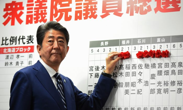Japan's Prime Minister and ruling Liberal Democratic Party leader Shinzo Abe puts rosettes by successful general election candidates' names on a board at the party headquarters in Tokyo on Oct. 22, 2017. (TORU YAMANAKA/AFP/Getty Images)