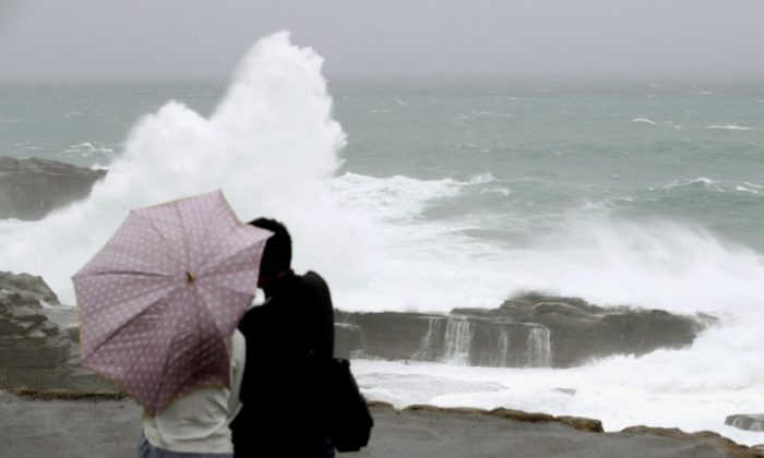 High waves caused by Typhoon Lan break on the shores of Senjojiki, Shirahama town, Wakayama prefecture, Japan, Oct. 22, 2017.  (Kyodo/via Reuters)