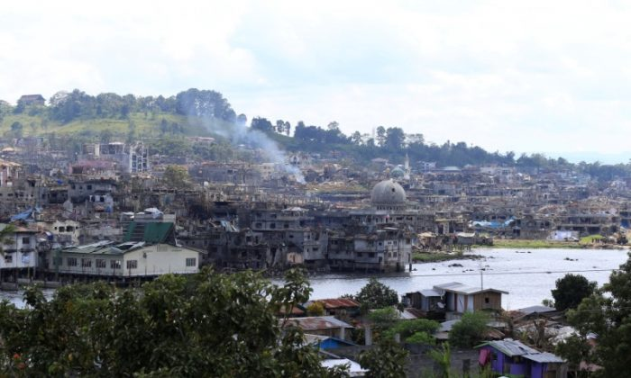 Damaged buildings are seen after government troops cleared the area from pro-ISIS terrorist groups inside a war-torn area in Marawi city, southern Philippines on Oct. 23, 2017. (REUTERS/Romeo Ranoco)
