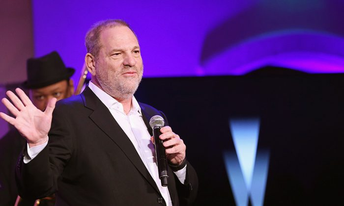 Producer Harvey Weinstein speaks onstage at The Weinstein Company's Pre-Oscar Dinner in partnership with Bvlgari and Grey Goose at Montage Beverly Hills in Beverly Hills, Calif., on Feb. 25, 2017. (Rich Polk/Getty Images for The Weinstein Company)