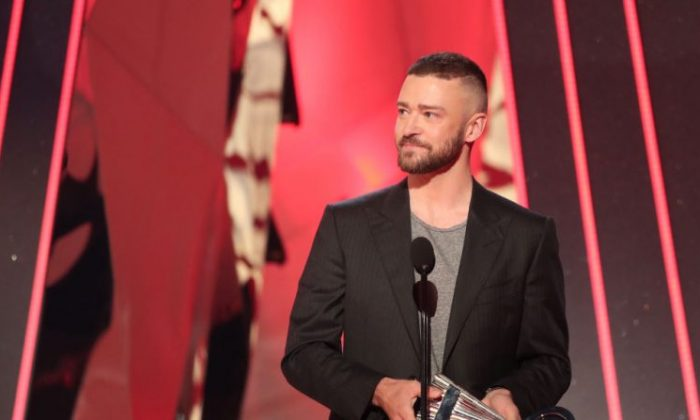 Musician Justin Timberlake accepts the Song of the Year award for 'Can't Stop the Feeling!' onstage at the 2017 iHeartRadio Music Awards at The Forum in Inglewood, Calif., on March 5, 2017. (Christopher Polk/Getty Images for iHeartMedia)