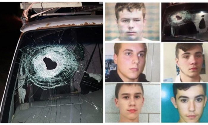 L: smashed windshield  of Kenneth White's car.  R: Kyle Anger, Alexander Miller, Mark Sekelsky, Mikadyn Payne and Trevor Gray. (Genesee County Sheriff's Office)