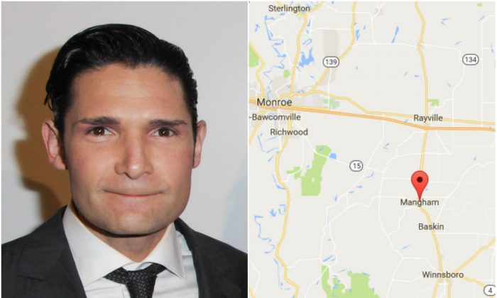 L: Corey Feldman in Los Angeles on April 2, 2014. (Ben Horton/Getty Images for Rainbow Films); R: Mangham, Louisiana. (Screenshot via Google Maps)