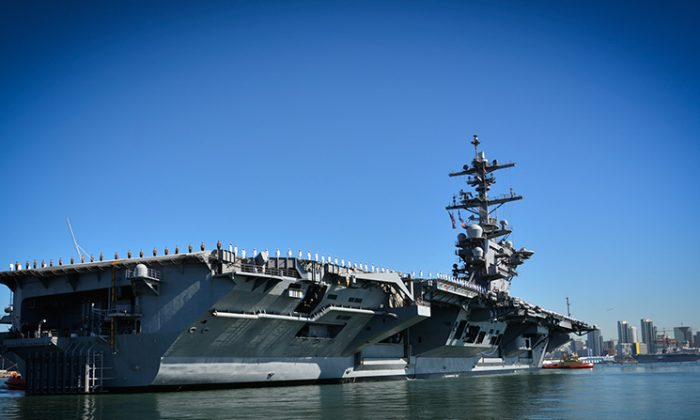 The aircraft carrier USS Theodore Roosevelt departs its homeport of San Diego for a regularly scheduled deployment to the U.S. 7th and 5th Fleet areas of responsibility, in support of maritime security operations and theater security cooperation efforts. (U.S. Navy photo by Mass Communication Specialist 1st Class Travis S. Alston)
