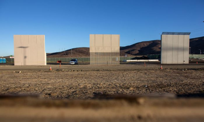 Eight prototypes of President Donald Trump's US-Mexico border wall being built near San Diego, seen from across the border in Tijuana, Mexico, on Oct. 22, 2017. (GUILLERMO ARIAS/AFP/Getty Images)