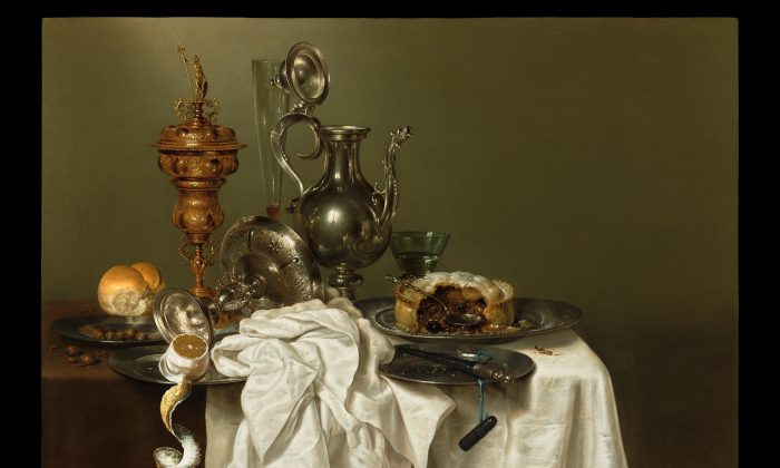 """A Still Life With a Fruit Pie,"" 1644, by Willem Claesz. Heda (1594–1680). Oil on panel, 31.8 inches by 39.8 inches. One of the many paintings by old masters on display at TEFAF New York. (French & Company LLC)"