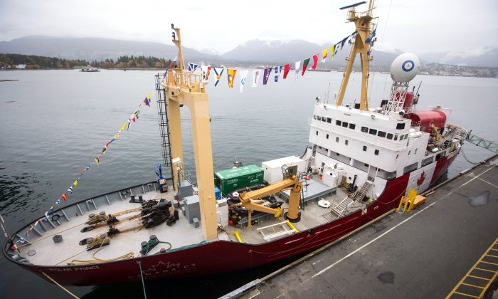 The Polar Prince icebreaker is moored in Vancouver on Oct. 23, 2017, after travelling through the Atlantic Ocean, Northwest Passage, and Pacific Ocean to mark Canada's 150th birthday as part of the Coast to Coast to Coast project. (The Canadian Press/Darryl Dyck)