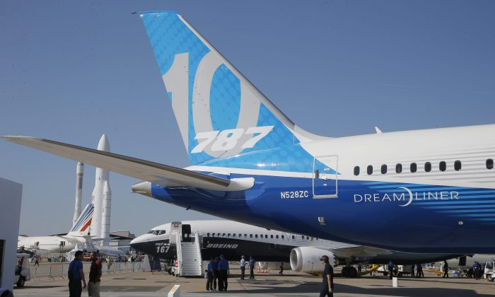 A Boing 787-10 Dreamliner at the Paris Air Show on the eve of its opening in Le Bourget, France, on June 18, 2017. (AP Photo/Michel Euler)