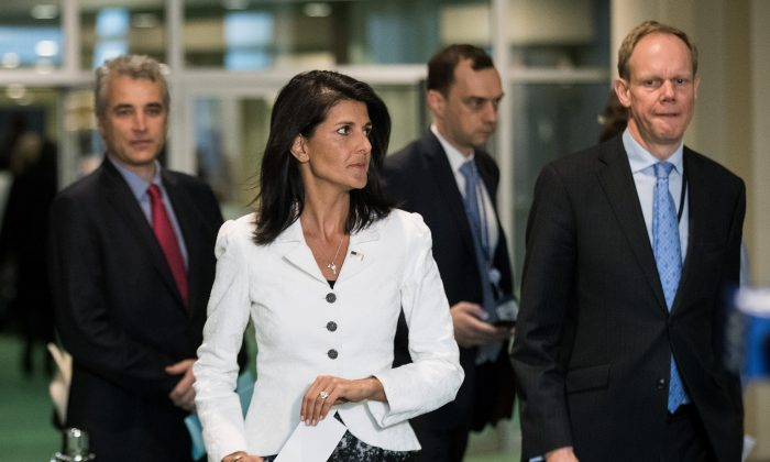 U.S. Ambassador to the United Nation Nikki Haley (C) arrives to speak to reporters at the United Nations headquarters, in New York City, on March 27, 2017. (Drew Angerer/Getty Images)