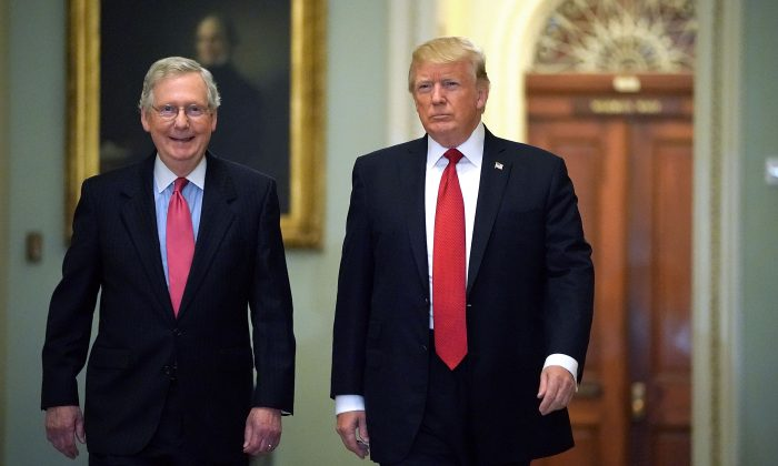 Senate Majority Leader Mitch McConnell (R-Ky.) (L) and President Donald Trump arrive for the Republican Senate Policy Luncheon at the U.S. Capitol in Washington, D.C., on Oct. 24, 2017. (Chip Somodevilla/Getty Images)