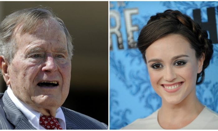 Former president George H.W. Bush (L) and actress Heather Lind. (R) (L-Brad Barket/Getty Images; R-Jewel Samad/AFP/Getty Images)