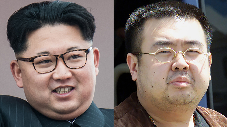 Current North Korean leader Kim Jong-Un and his now-dead half-brother Kim Jong-Nam, both sons of late-North Korean leader Kim Jong-Il (Ed Jones/Toshifumi Kitamura/AFP/Getty Images)