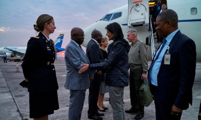 U.S. Ambassador to the United Nations Nikki Haley is received upon arriving at the N'Djili International Airport in Kinshasa, Democratic Republic of Congo, Oct. 25, 2017. (REUTERS/Robert Carrubba)