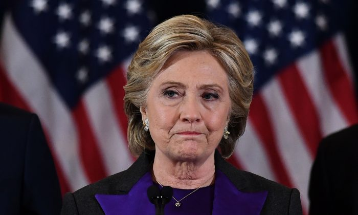 Democratic presidential candidate Hillary Clinton makes a concession speech after being defeated by Republican president-elect Donald Trump in New York on Nov. 9, 2016. (JEWEL SAMAD/AFP/Getty Images)