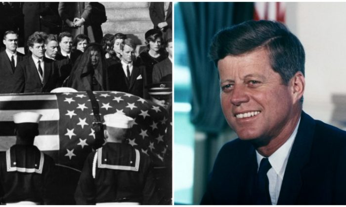 (L) Photo from John F. Kennedy's funeral.  (R) John F. Kennedy. (PublicGetty Images/ Public Domain)