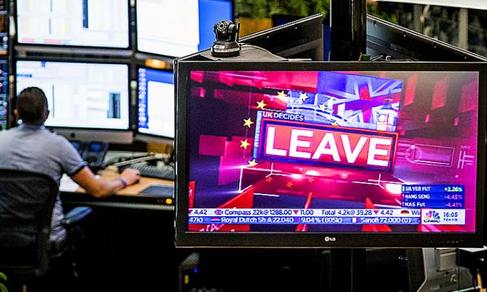 A monitor displays news at the Euronext Stock Exchange in Amsterdam, on June 24, 2016, after the result of Britain's in-out referendum on EU membership, as Britain voted to leave the European Union. (Koen Van Weel/AFP/Getty Images)