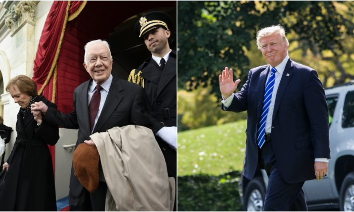 (L) Former President Jimmy Carter and his wife Rosalynn at the presidential inauguration of Donald Trump on Jan. 20 (Saul Loeb - Pool/Getty Images). (R) President Donald Trump at the White House on Sept. 26. (Samira Bouaou/The Epoch Times)