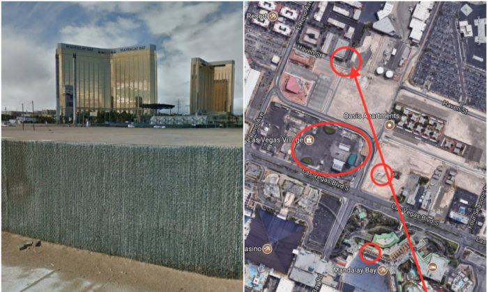L: The approximate location where Laura Loomer examined possible bullet marks. (Screenshot via Google Street View); R: (Top-Bottom) the Location where Laura Loomer examined possible bullet marks, the concert venue that was the target of the Oct. 1 Las Vegas attack, the support columns of the unfinished Skyvue Las Vegas Super Wheel, the location of Stephen Paddocks hotel room. (Screenshot via Google Maps; marks by The Epoch Times)