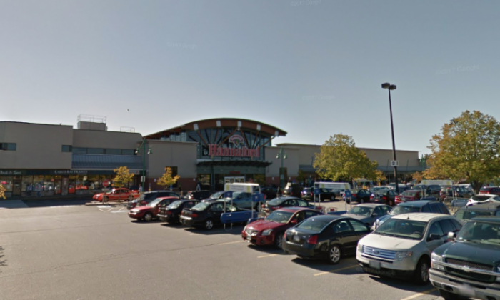 The logo of the Hannaford supermarket seen from a parking lot in front of the store. (Google Maps)