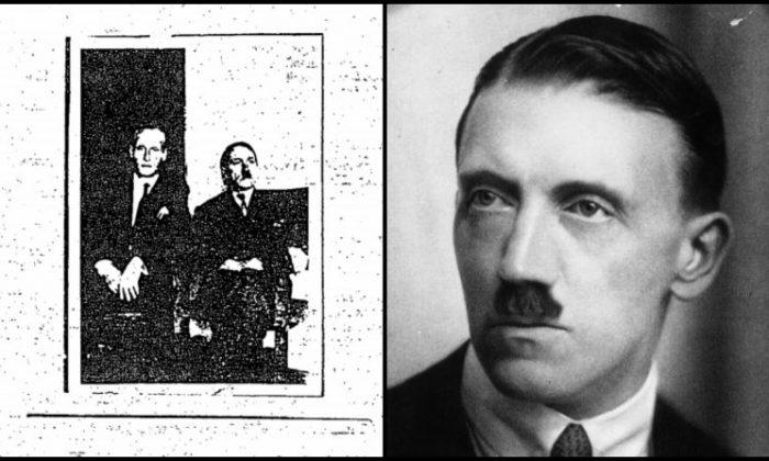 Photo from declassified CIA file shows what an unnamed source claimed to be Adolf Hitler on the right side of the left frame of the collage.  In the right frame, Hitler, circa 1923. (CIA/Getty Images)