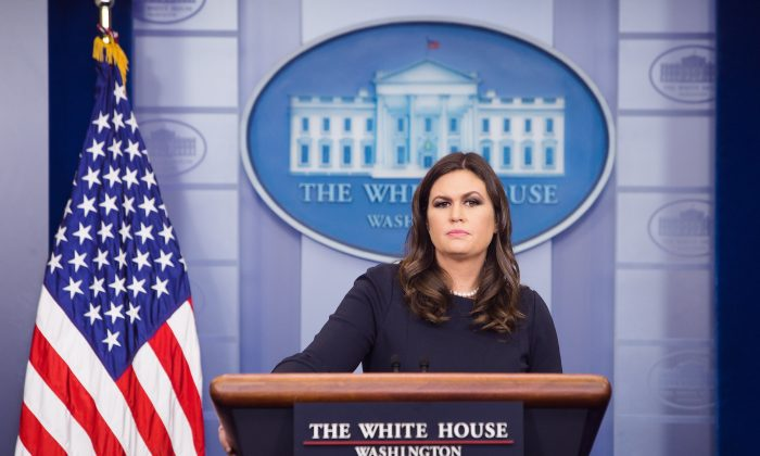 White House press secretary Sarah Sanders during a press briefing at the White House on Oct. 31, 2017. (Samira Bouaou/The Epoch Times)