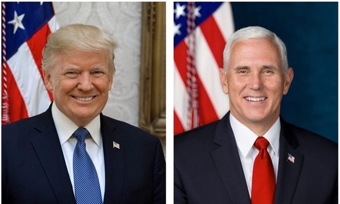 The official portraits of President Donald Trump (L), and Vice President Mike Pence (R).