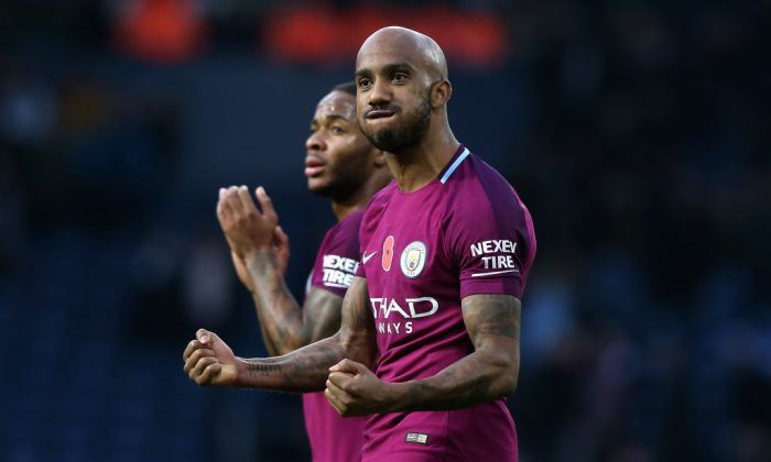 Fabian Delph of Manchester City celebrates victory after the Premier League match between West Bromwich Albion and Manchester City at The Hawthorns on Oct 28, 2017 in West Bromwich, England. (Nigel Roddis/Getty Images)