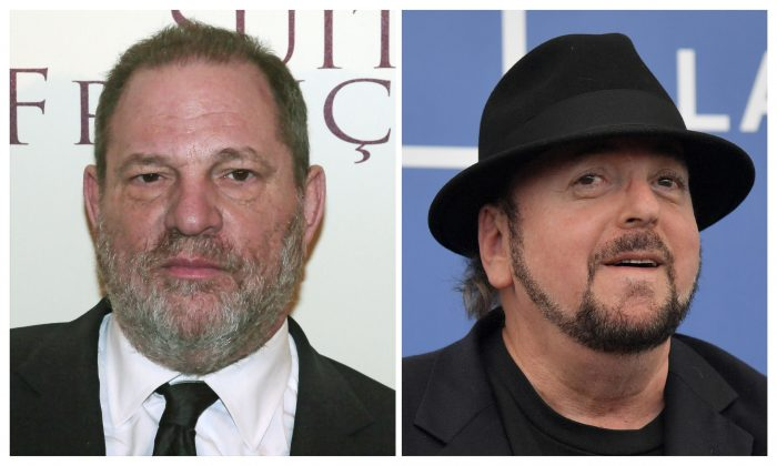 """These two file photos show producer Harvey Weinstein (L) before the world preview screening of """"French Suite,"""" March 10, 2015, in Paris; and director James Toback (R) attending the photocall for the movie 'The Private Life of a Modern Woman' during the 74th Venice Film Festival, Sept. 3, 2017, at Venice Lido in Italy. (DSK/AFP/Getty Images)"""