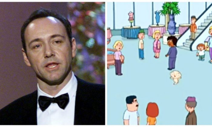Kevin Space (L) and a still from Family Guy (R) (Family Guy and LUCY NICHOLSON/AFP/Getty Images)
