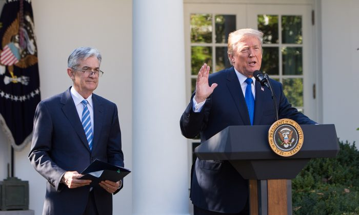 President Donald Trump announces Jerome (Jay) Powell (L) as the new chairman of the U.S. Federal Reserve in the Rose Garden of the White House in Washington, D.C., Nov. 2, 2017. (Samira Bouaou/ The Epoch Times)