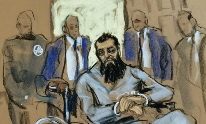 Sayfullo Saipov, the suspect in the New York City truck attack, is seen in this courtroom sketch appearing in Manhattan federal courtroom in a wheelchair in New York, NY, U.S., Nov. 1, 2017. (Reuters/Jane Rosenberg)