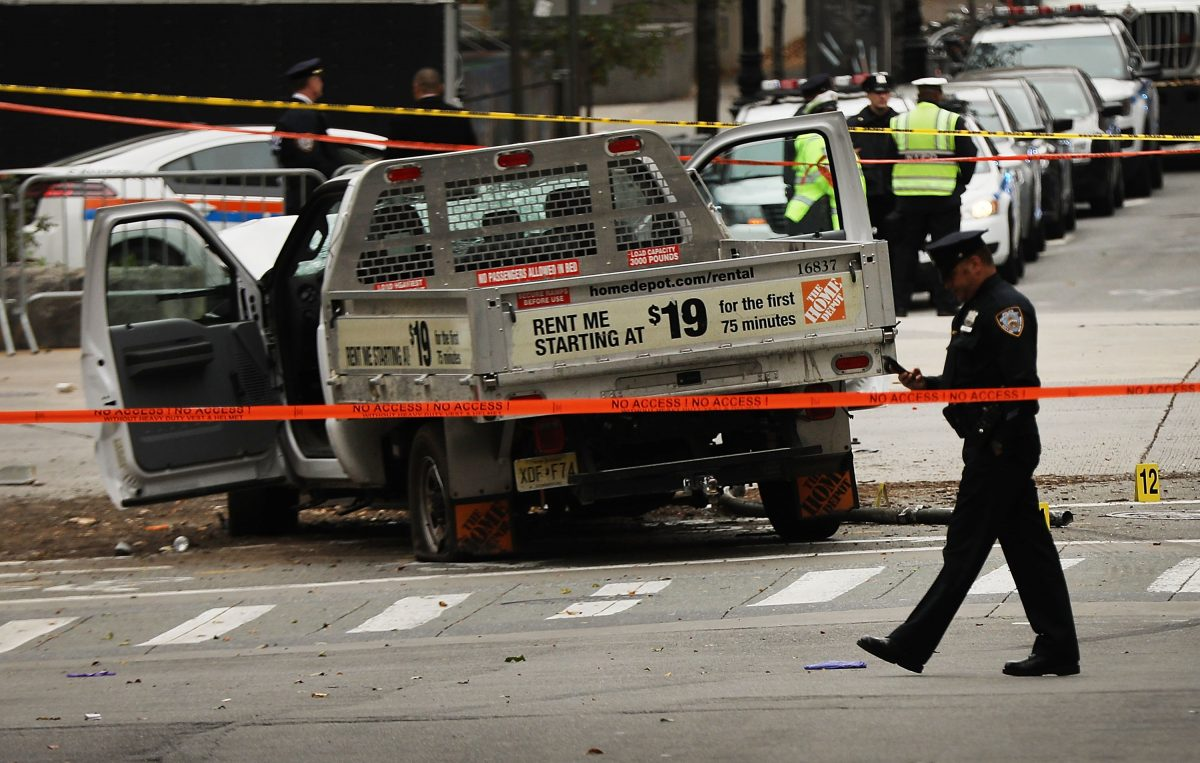 The crashed vehicle used in what is being described as a terrorist attack sits in lower Manhattan the morning after the event on November 1, 2017 in New York City. (Spencer Platt/Getty Images)