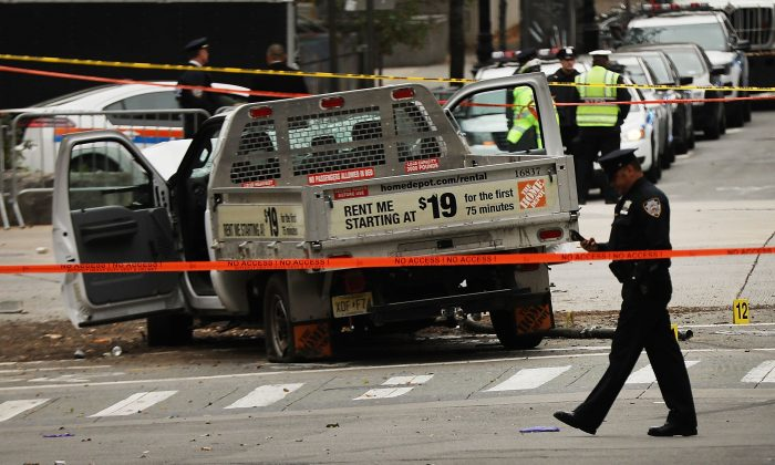 The crashed vehicle used in what is being described as a terrorist attack sits in Lower Manhattan the morning after the event on Nov. 1, 2017 in New York City. (Spencer Platt/Getty Images)