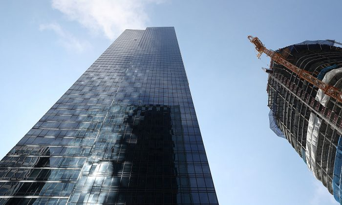 A view of the Millennium Tower in San Francisco, California.  (Photo by Justin Sullivan/Getty Images)
