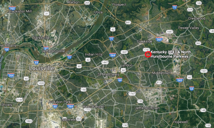 The approximate location where Brandon Hurley pulled over an off-duty police officer on Oct. 28, 2017, in Louisville, Ky. (Screenshot via Google Maps; marked by The Epoch Times)