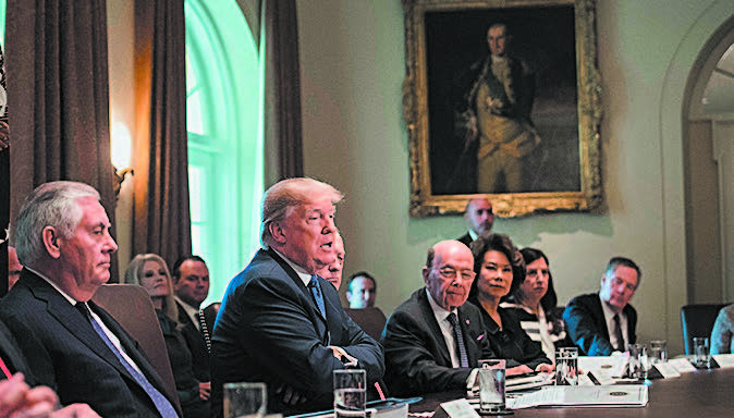 President Donald Trump during a Cabinet meeting at the White House on Nov. 1. (NICHOLAS KAMM/AFP/GETTY IMAGES)