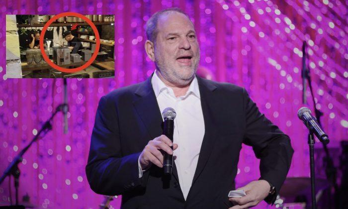 Harvey Weinstein dons blond wig disguise, seen in Phoenix restaurant. (Rich Polk/Getty Images for The Weinstein Company)