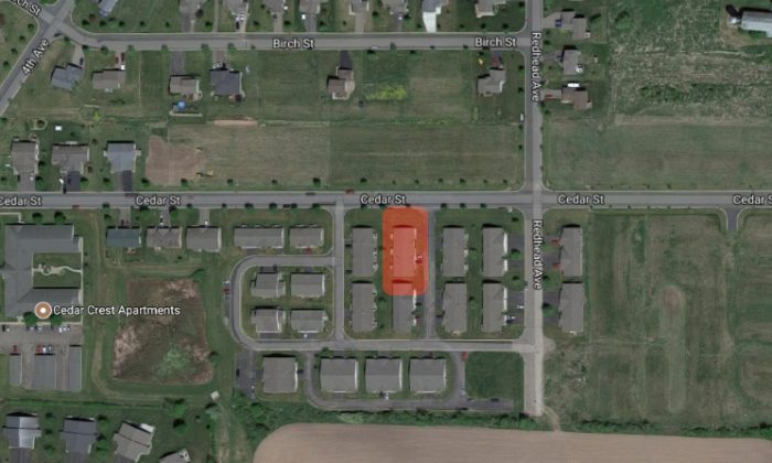 Highlighted is the house at 280 Cedar St. in Baldwin, Wis., where a father and his infant daughter were found dead. (Google Maps)
