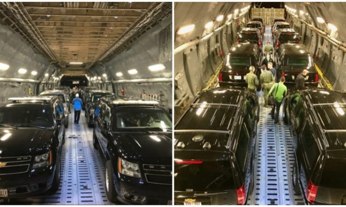 The presidential motorcade aboard a transport aircraft in a photo shared by the Secret Service on Nov. 4, 2017. (Secret Service)