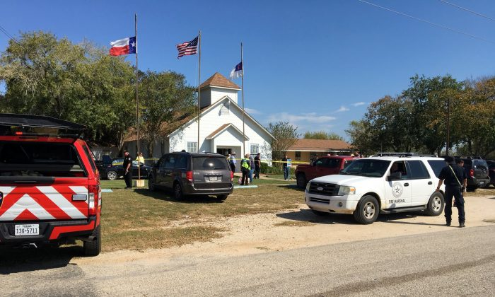 The area around a site of a mass shooting in Sutherland Springs, Texas, on Nov. 5, 2017, in this picture obtained via social media. (Max Massey/ KSAT 12/via Reuters)