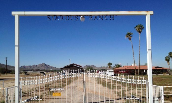 "The gate to Stardust Ranch, also known as ""Alien Ranch"" in Rainbow Valley, Ariz. (Courtesy of John Edmonds)"