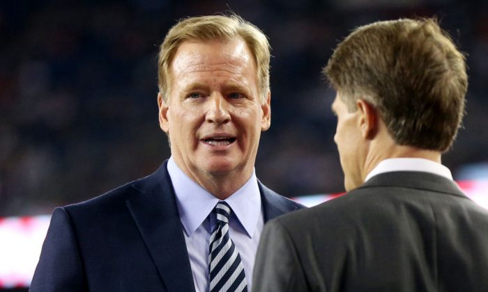 NFL Commissioner Roger Goodell looks on before a game between the Kansas City Chiefs and the New England Patriots at Gillette Stadium. (Maddie Meyer/Getty Images)